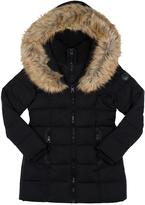 Point Zero Black Faux Fur-Trim Hooded Ego Puffer Jacket