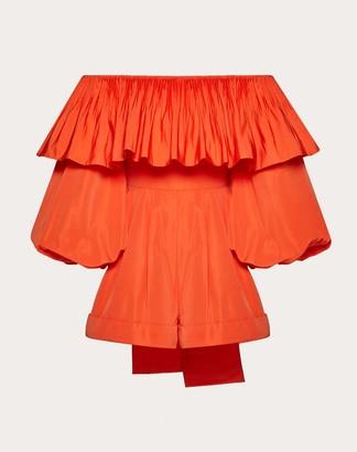 Valentino Micro-faille Playsuit Women Red Cotton 54%, Elastane 46% 40