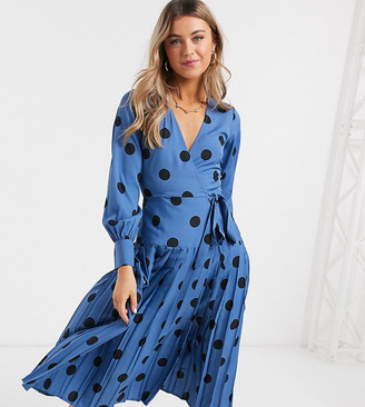 Wednesday's Girl midi wrap dress with pleated skirt in large scale spot