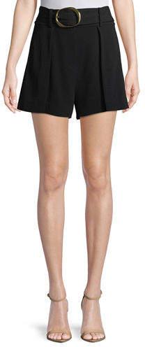 Derek Lam 10 Crosby Belted Flared-Leg Crepe Shorts