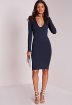 Missguided Ponte Long Sleeve Plunge Midi Dress Navy