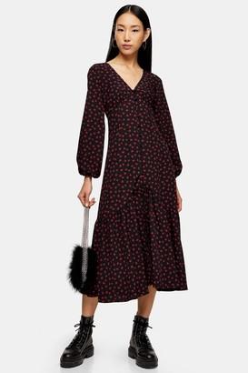 Topshop Womens Rose Button V-Neck Midi Dress - Black