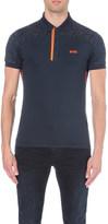 HUGO BOSS Geometric-pattern jersey polo shirt