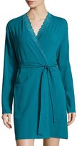 Cosabella Never Say Never Lace-Trim Short Wrap Robe, Blue Curacao
