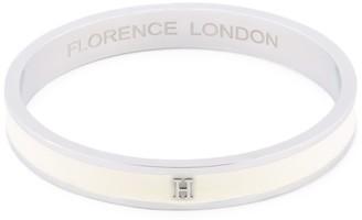 Florence London Initial H Bangle Silver Trim With White Enamel