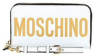 Moschino Logo-Print Continental Leather Wallet