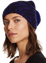 Aqua Ribbed Slouchy Hat with Rabbit Fur Pom-Pom - 100% Bloomingdale's Exclusive