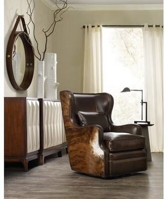 "Hooker Furniture Wellington 31.5"" W Top Grain Leather Swivel Wingback Chair"