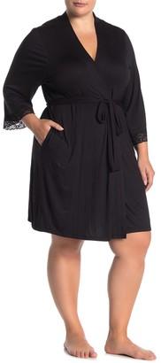 Joe Fresh Solid Lace Trim Jersey Robe (Plus Size)