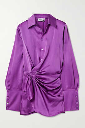 ATTICO Draped Wrap-effect Satin Mini Shirt Dress - Purple
