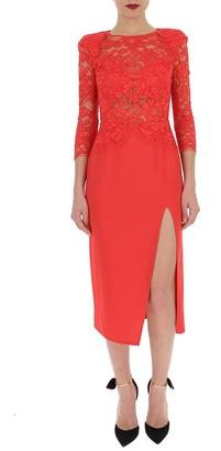Elisabetta Franchi Lace Midi Fitted Dress