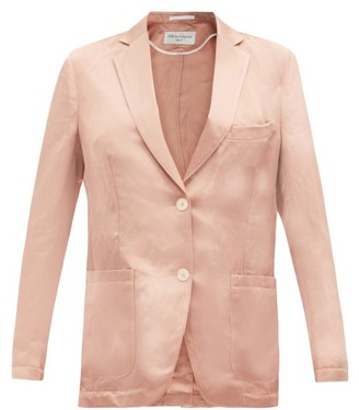 Officine Generale Paola Single-breasted Linen-blend Satin Jacket - Pink