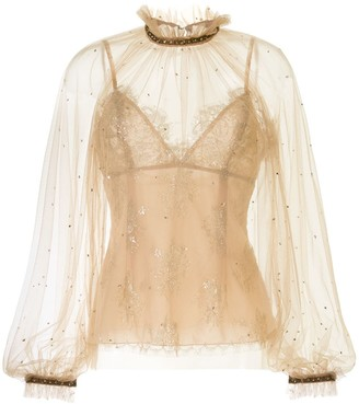 Marchesa Two-Part Layered Tulle Blouse