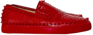 Christian Louboutin Pik Boat Red Python Trainers