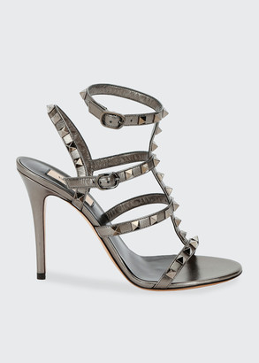 Valentino Rockstud Metallic Leather T-Strap 105mm Sandals
