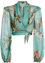 PatBO Carolina Floral Tie-Front Crop Top