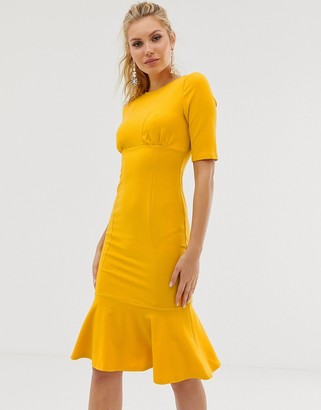 Girl In Mind frill hem midi dress-Yellow