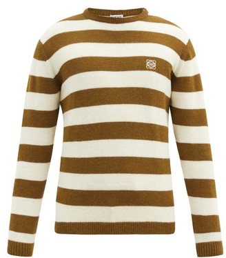 Loewe Anagram-embroidered Striped Sweater - Khaki Multi