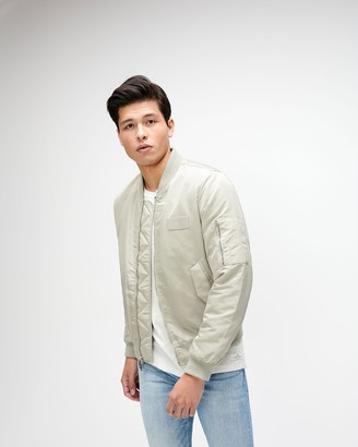 7 For All Mankind Nylon Bomber Jacket in Stone