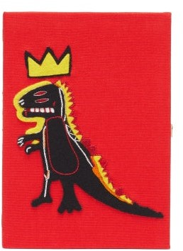 Olympia Le-Tan Olympia Le Tan Basquiat-dinosaur Embroidered Canvas Book Clutch - Womens - Red Multi