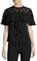 Rebecca Taylor Ruffled Lace-Yoke Georgette Top, Black