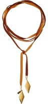 Vanessa Mooney Tan Leather Bolo with Gold Flat Diamond Necklace