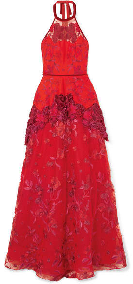Marchesa Embroidered Neoprene, Point D'esprit And Guipure Lace Gown