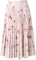 RED Valentino floral print pleated skirt with lace fringe