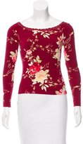 Blumarine Lace-Trimmed Floral Top