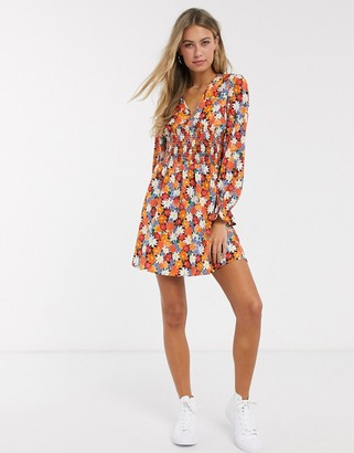 Influence shirred waist mini dress in retro floral