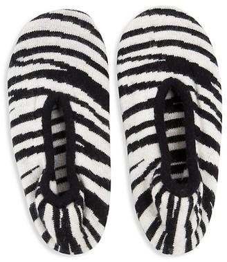 Portolano Zebra-Print Cashmere-Blend Slipper Socks
