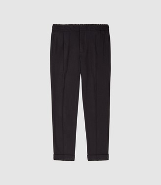 Reiss Runner - Striped Casual Trousers in Navy/bordeaux