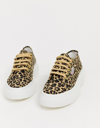 Superga 2297 flaftorm trainers in leopard