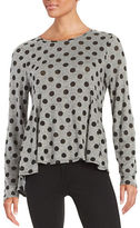 CeCe Peplum Polka Dot Top