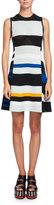 Proenza Schouler Variegated-Stripe Sleeveless A-Line Dress, Multi