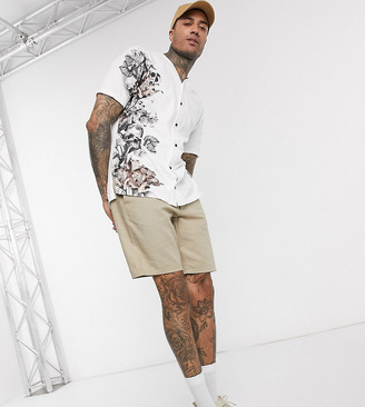 Religion Tall baseball shirt with floral skull side print in white