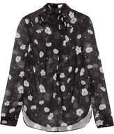 Carven Pussy-bow Floral-print Chiffon Blouse - Black