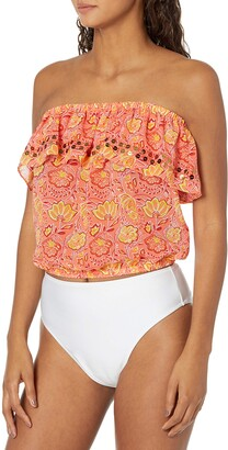 Ramy Brook Women's Printed Shayla Embellished Tube Top Coverup