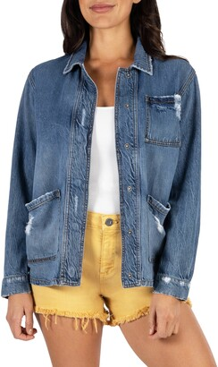 KUT from the Kloth Distressed Denim Utility Jacket