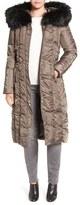 Via Spiga Detachable Faux Fur Trim Hooded Long Down & Feather Fill Coat
