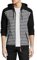 Balmain Checker-Print Zip-Front Sweatshirt, Black/White