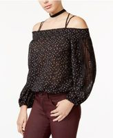 Jessica Simpson Juniors' Printed Cold-Shoulder Top