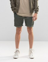 Asos Slim Chino Shorts In Green With Oil Wash