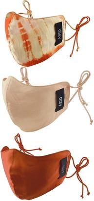 Gisy Set Of 3 Pure Silk Face Masks/ Orange Rose Galanga