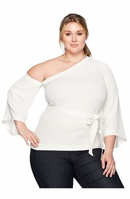 Rachel Roy Women's Plus Size Off Set Tie Top