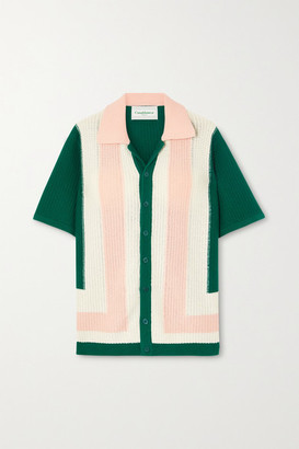 Casablanca Yass Color-block Cotton Top - Green