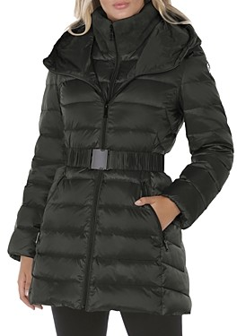 T Tahari Claire Faux Fur Collar Hooded Puffer Coat