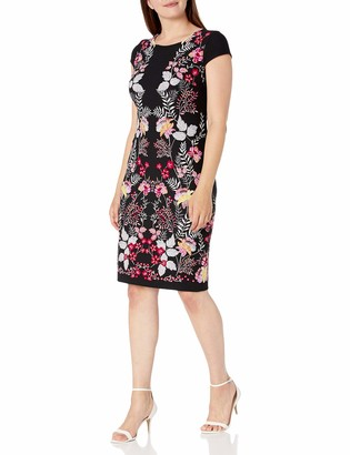 Sandra Darren Women's 1 PC Cap Sleeve Mirror Printed Bullet Puff Sheath Dress