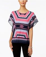 JM Collection Petite Embellished Printed Blouse, Only at Macy's