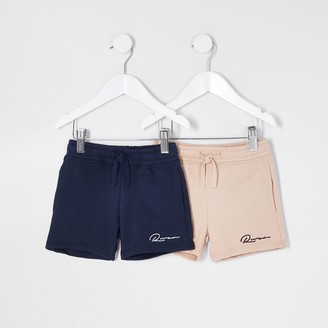 River Island Mini boys Beige 'River' shorts 2 pack